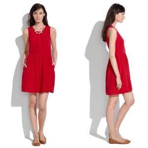 Madewell Shirred Silk Dress Red 4
